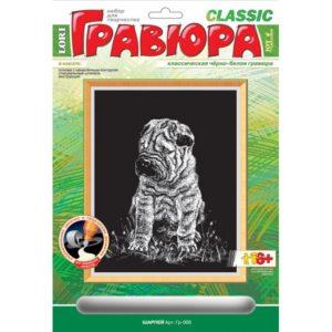 Гравюра черно-белая Шарпей гр-006