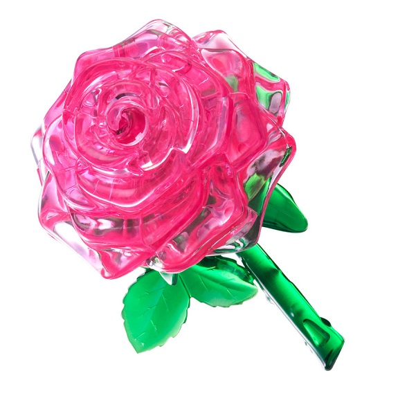 Пазл-3D Головоломка Crystal Puzzle Роза розовая