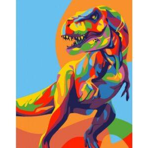 Картина по номерам Радужный Динозавр