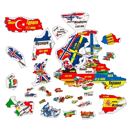 Магнитный географический пазл Европа(1019)