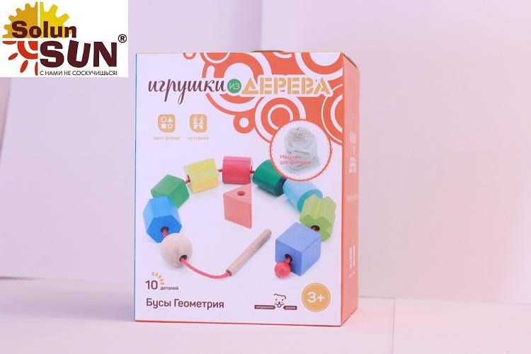Деревянный развивающий набор Геометрические бусы(Д389) - купить по выгодной цене с доставкой по всей России, в магазине детских игрушек.
