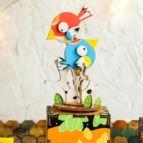 Деревянный 3D конструктор - музыкальная шкатулка Robotime Птички - купить по выгодной цене с доставкой по всей России, в магазине детских игрушек.