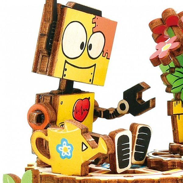 Деревянный 3D конструктор - музыкальная шкатулка Robotime Робот с цветком - купить по выгодной цене с доставкой по всей России, в магазине детских игрушек.