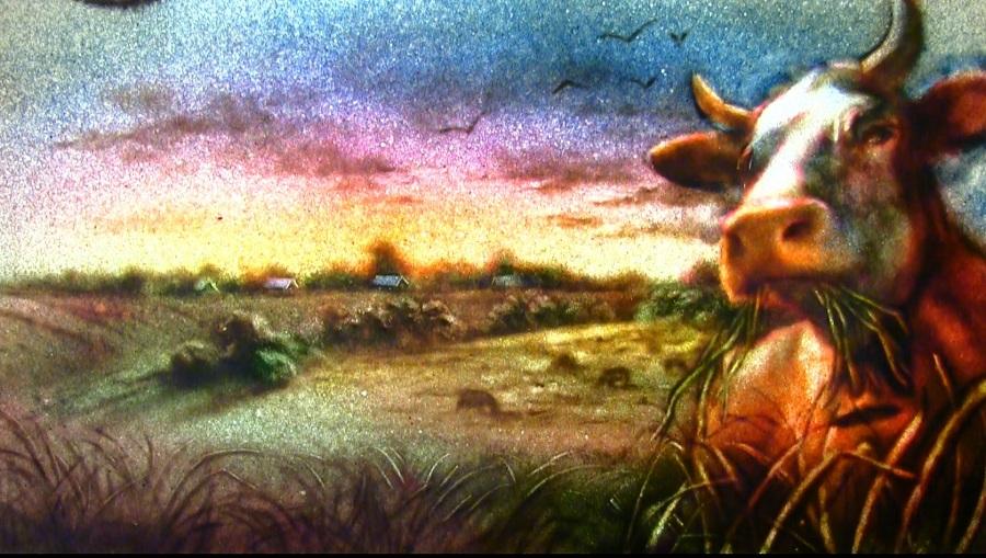 Картина из песка Сельский пейзаж