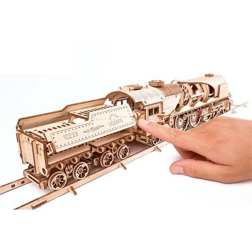 3D-конструктор из дерева Ugears - Локомотив с тендером V-Экспресс