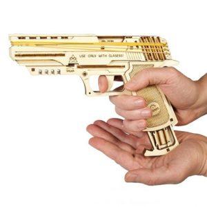 3D-конструктор механический из дерева Ugears - Пистолет Вольф-01