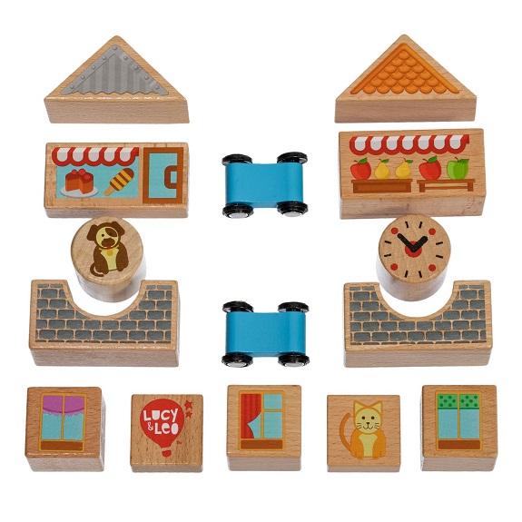 Конструктор деревянный Lucy s Leo Строительные кубики, малый